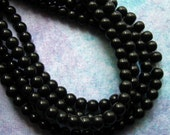 """Black Glass Beads - 3mm Round - 200 Beads on Two 13"""" Strands - Small Black Spacer Beads (CBD0002)"""
