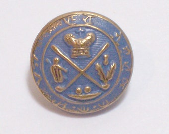 Blue Buttons, Goldtone and Blue Metal Buttons 9/16 inch diameter, Coat of Arms Design x 25 pieces