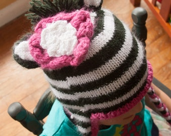 Zebra Hat with Pink Flower for 3-6 year olds