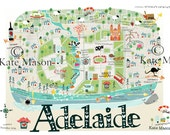 Adelaide Map TEA TOWEL