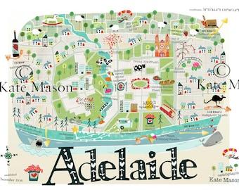 Adelaide Map TEA TOWEL