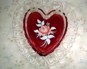 Vintage Westmoreland Heart Plate with Handpainted Roses, Stained Red Center, Clear Hearts Openwork Edge. Signed C. Peltier 1978