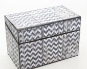 Wood Recipe Box Aged Barn Wood and Gray Chevron Fits 4x6 Recipe Cards