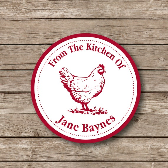 Personalized baking stickers,  French Country Rooster sticker, baking labels, baked goods stickers, from the kitchen of Set of 12