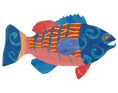 Collage Art Print: Fanciful Fish Series #4 - 8 x10 or 10x13 - Colourful Fish Design with Red, Blue and Yellow
