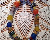 Ankle Bracelet African Trade Bead Sea glass Seaglass Stretch one size