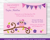 Pink Owl Birthday Invitat...