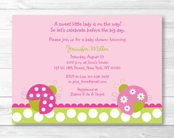 Cute Pink Ladybug Baby Shower Invitation / Ladybug Baby Shower Invite / Pink & Green / Baby Girl Shower / PRINTABLE
