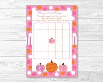 Pink Pumpkin Baby Shower Bingo Cards INSTANT DOWNLOAD