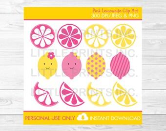 Cute Pink Lemonade Clipart / Pink Lemonade Clipart / Pink Lemonade Birthday /  Lemin Clipart/ Pink & Yellow / PERSONAL USE Instant Download