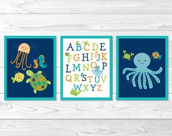 Under the Sea Alphabet Nursery Wall Art PRINTABLE Instant Download