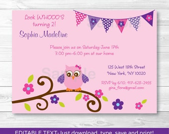 Pink Owl Birthday Invitation / Owl Birthday Invite / Pink & Purple Owl / Any Age INSTANT DOWNLOAD Editable PDF