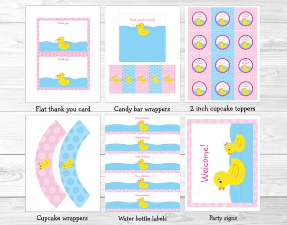 Cute pink rubber duck birthday party package rubber duck for 1st birthday decoration packages