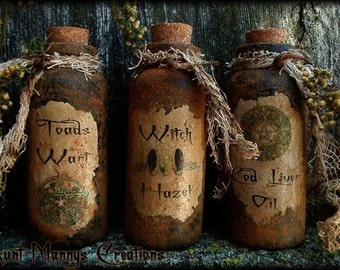 Primitive Folk Art Old Grungy Witch Potion Bottles NO SEW ePattern