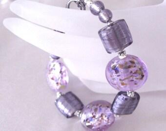 Purple Lampwork Bracelet, Lavender Confetti Art Glass Beads and Sterling Silver
