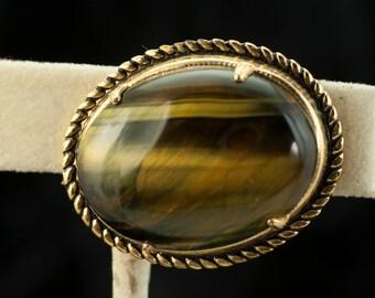 Tiger Eye Brooch Gold Tone Vintage