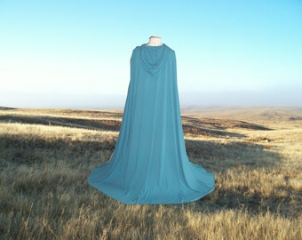 Blue Green Hooded Cloak- Little Red Riding Hood -  Wedding - Prom - Renaissance Festival