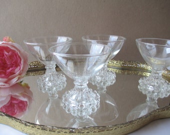 Vintage Anchor Hocking Boopie Clear Sherbet/Champagne Glasses Set of Four