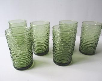 Vintage Anchor Hocking Soreno Avocado Green Juice Tumblers Set of Six