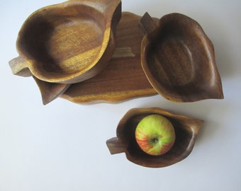Vintage Hawaiian Monkey Pod Serving Bowl and Four Snack Bowls