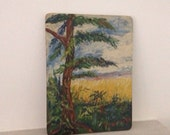 Vintage landscape painting in board