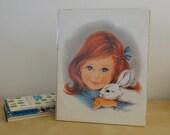 Vintage Girl with Bunny Unframed Print - Irene Charles