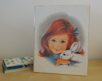 Vintage Girl with Bunny Unframed Print - Irene Charles