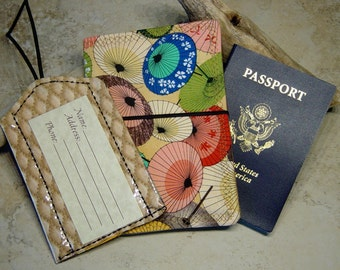 Passport Wallet, Luggage ID Tag, Travel Gift Set, Umbrella Parasol Print Fabric, Gift for Traveler,Asian Print