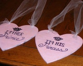 Wedding Bride Groom Chair Hearts I'm Her Prince, I'm His Princess Signs - Shabby Cottage Chic Pink Rustic