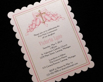 Personalized Girls First Communion Invitations, Pink Hearts With Gold Cross, Set Of 10