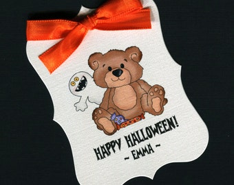 Large Personalized Halloween Favor Tags, teddy with ghost, set of 25