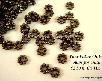 100 Daisy Spacer Bead Antique Bronze 4mm LF and NF - 100 pc - M7010-AB100