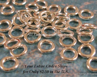 50 4mm Silver Plated Soldered Closed Jump Rings Brass 20 Gauge 4mm Outside - 50 pc - 5833-5