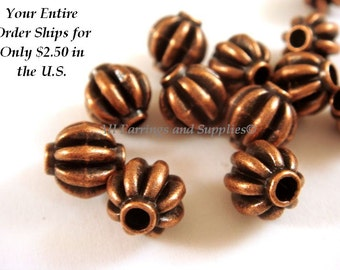 12 Copper Ribbed Barrel Beads Tibetan Style Metal Antique Melon LF/NF/CF 8mm - 12 pc - M7060-AC12