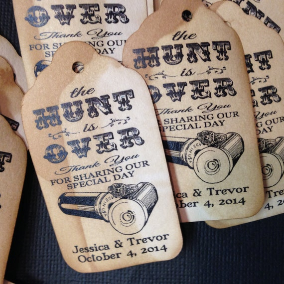 The Hunt is Over 100 MEDIUM  Personalized Favor Tags