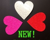 Glitter Iron On Heart - Red White Pink