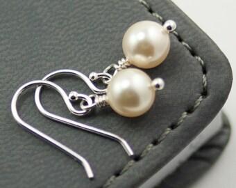 Pearl Earrings June Birthstone Earrings. Cream Swarovski Pearls. Simple Drop Earrings. Ivory Pearl Earrings.  Bridal Jewelry Sterling Silver