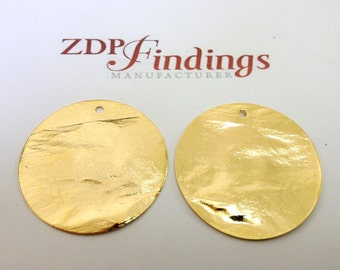 6pcs Discs 30mm Brushed Hammered Gold plated Charms with Hole (9302HBGP)