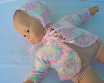 Sweet Baby Doll Dress original handmade, Flannel doll outfit in pink print