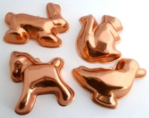 Copper Molds - Duck, Horse, Squirrel and Bunny - Candy, cake, candle, soap molds