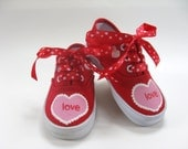 Girls Valentine's Day Shoes, Kid's Red Canvas Sneakers, Hand Painted Hearts, Baby and Toddler