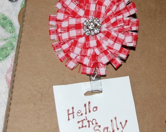 Red Checkered Fabric Flower Retractable Badge Holder Name Tag  Fiber Art