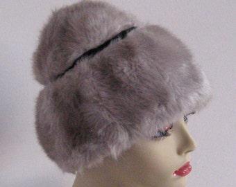 lamp shade hat . grey faux fur hat .  grey lamp shade hat . grey fur hat