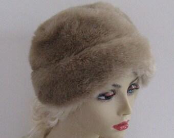 Faux Mink Hat . Russian Princess Hat . Blond Mink Hat .  Retro Faux Mink Hat