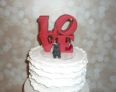 love wedding cake topper with pets