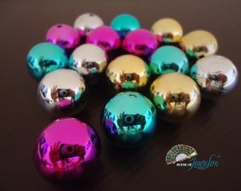 20mm Round Bright UV Plated Acrylic Beads, 20mm - 16x