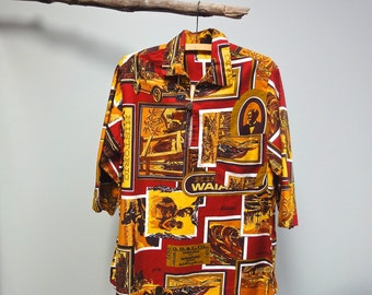 Vintage 70s Hawaiian Shirt Historic Waianae Unique Elbow Sleeved Cabana Shirt
