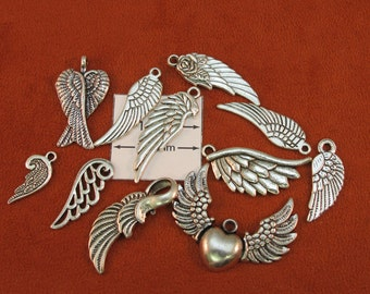 Antiqued Silver Metal Assorted Wing Charms and Pendants, Set of 11 pc, 1019-30
