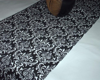 BLACK DAMASK RUNNER Damask table runner, Last ones,  Madi reverse white damask on black- 13x 72 Wedding, Shower Runner, Bridal
