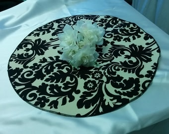 TABLE ROUND  for Centerpieces Waverly Onyx damask table rounds Black on Ivory Off white 20 24 28 36